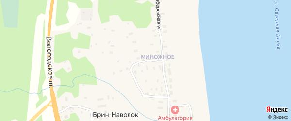 Миноженский переулок на карте поселка Брина-Наволока Архангельской области с номерами домов