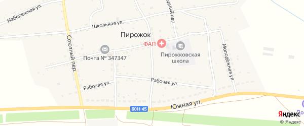 Мирный переулок на карте хутора Пирожка Ростовской области с номерами домов