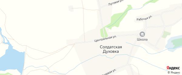 Карта села Солдатской Духовки в Тамбовской области с улицами и номерами домов