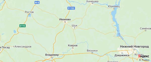 Карта Шуйского района Ивановской области с городами и населенными пунктами