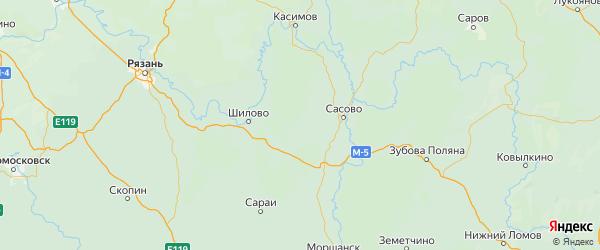 Карта Чучковского района Рязанской области с городами и населенными пунктами
