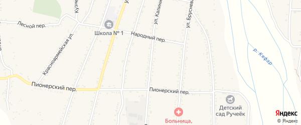 Улица Калинина на карте Сторожевой станицы Карачаево-Черкесии с номерами домов
