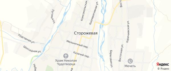 Карта Сторожевой станицы в Карачаево-Черкесии с улицами и номерами домов