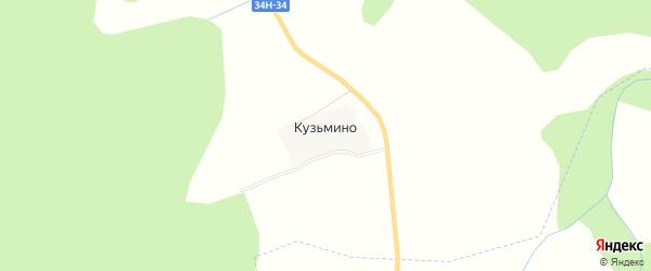 Карта деревни Кузьмино в Костромской области с улицами и номерами домов