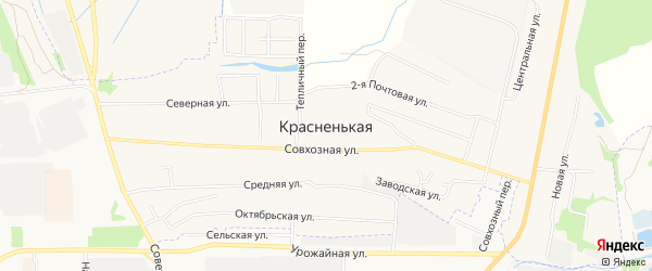 Карта Красненькой деревни в Тамбовской области с улицами и номерами домов