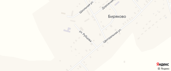 Улица Н.Рубцова на карте села Биряково Вологодской области с номерами домов