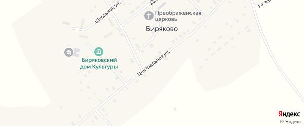 Центральная улица на карте села Биряково Вологодской области с номерами домов