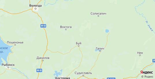 Карта Буйского района Костромской области с городами и населенными пунктами