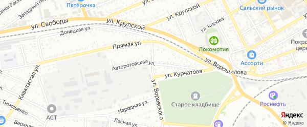 Авторотовская улица на карте Сальска с номерами домов