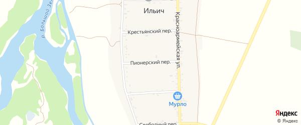 Пионерский переулок на карте аула Ильича Карачаево-Черкесии с номерами домов
