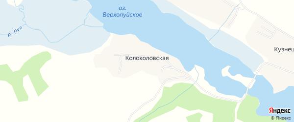 Карта Колоколовской деревни в Архангельской области с улицами и номерами домов