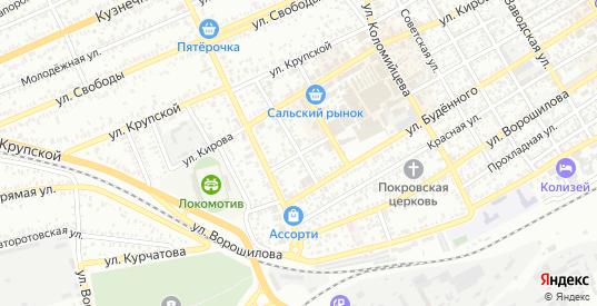 Ново-Базарный переулок в Сальске с номерами домов на карте. Спутник и схема онлайн
