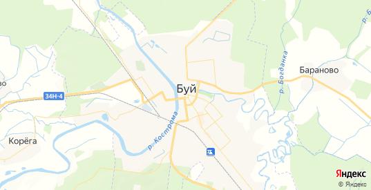 Карта Буя с улицами и домами подробная. Показать со спутника номера домов онлайн
