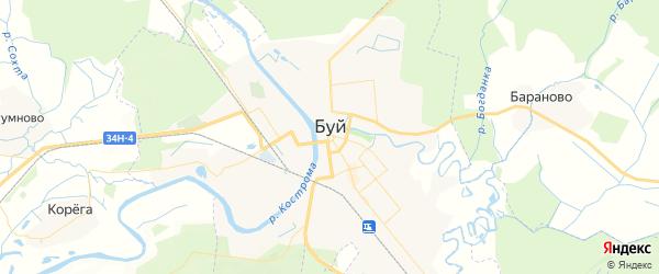 Карта Буя с районами, улицами и номерами домов: Буй на карте России