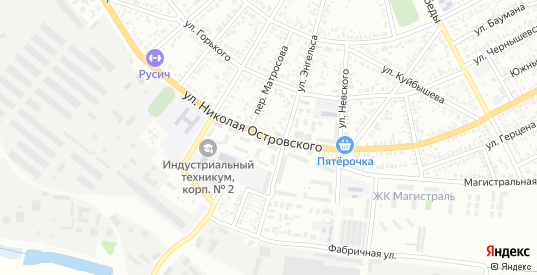 Улица Николая Островского в Сальске с номерами домов на карте. Спутник и схема онлайн