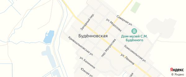Карта Буденновской станицы в Ростовской области с улицами и номерами домов