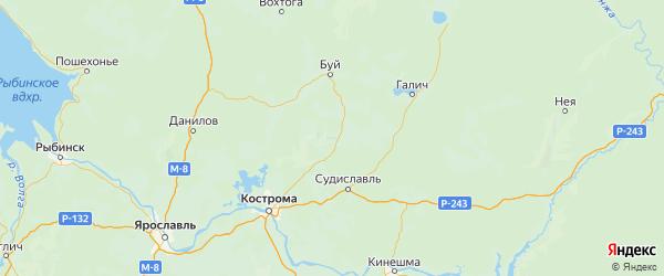 Карта Сусанинского района Костромской области с городами и населенными пунктами