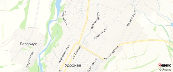 Карта Удобной станицы в Краснодарском крае с улицами и номерами домов
