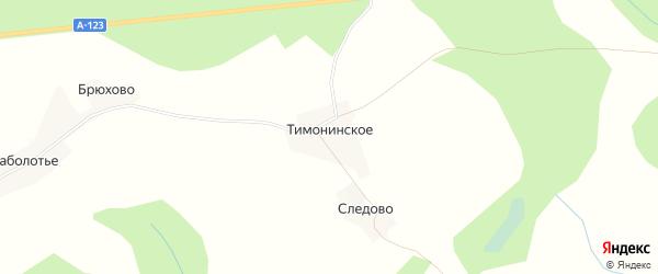 Карта деревни Тимонинского в Вологодской области с улицами и номерами домов