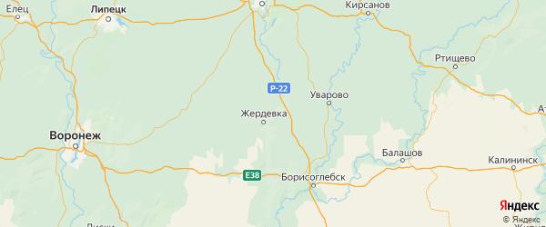 Карта Жердевского района Тамбовской области с городами и населенными пунктами