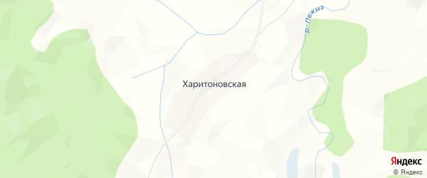 Карта Харитоновской деревни Морозовского сельсовета в Вологодской области с улицами и номерами домов
