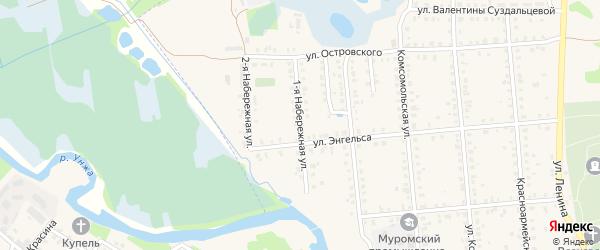 Набережная 1-я улица на карте Меленок с номерами домов