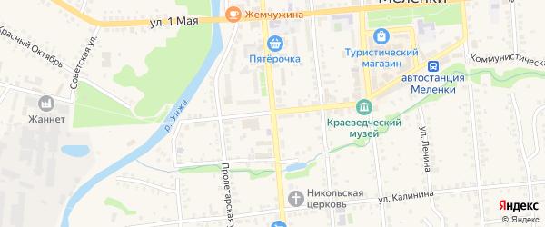 Комсомольская улица на карте Меленок с номерами домов