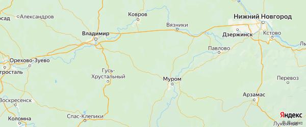 Карта Селивановского района Владимирской области с городами и населенными пунктами