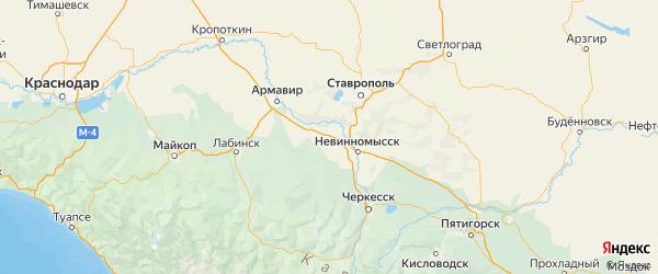 Карта Кочубеевского района Ставропольского края с городами и населенными пунктами