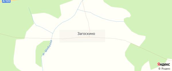 Карта деревни Загоскино в Вологодской области с улицами и номерами домов