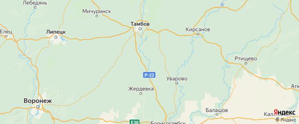 Карта Сампурского района Тамбовской области с городами и населенными пунктами