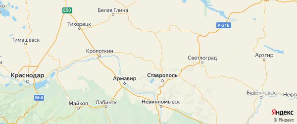 Карта Изобильненского района Ставропольского края с городами и населенными пунктами