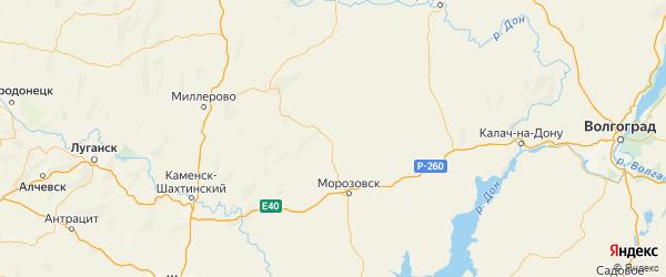 Карта Милютинского района Ростовской области с городами и населенными пунктами