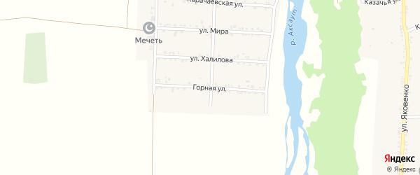Горная улица на карте Кардоникской станицы Карачаево-Черкесии с номерами домов