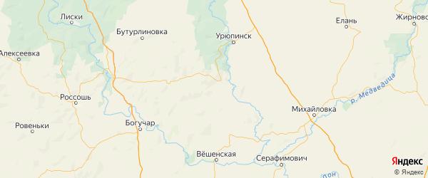 Карта Нехаевского района Волгоградской области с городами и населенными пунктами