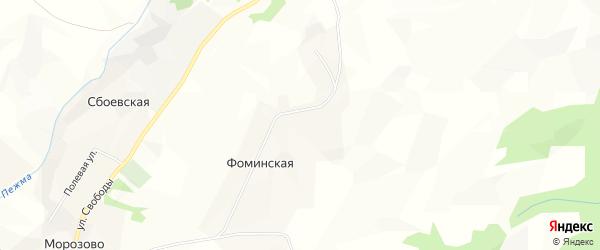 Карта Фоминской деревни Морозовского сельсовета в Вологодской области с улицами и номерами домов