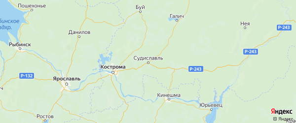 Карта Судиславского района Костромской области с городами и населенными пунктами