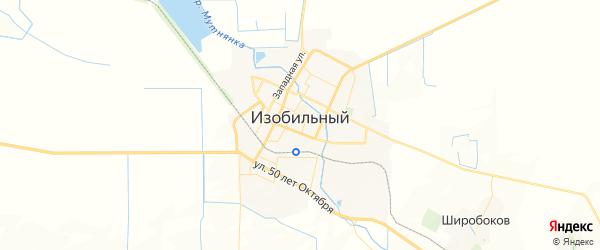 Карта Изобильного с районами, улицами и номерами домов