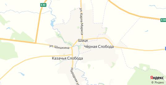 Карта Шацка с улицами и домами подробная. Показать со спутника номера домов онлайн