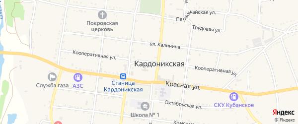 Кооперативная улица на карте Кардоникской станицы Карачаево-Черкесии с номерами домов