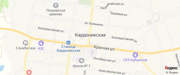 Колхозная улица на карте Кардоникской станицы Карачаево-Черкесии с номерами домов