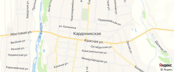 Карта Кардоникской станицы в Карачаево-Черкесии с улицами и номерами домов