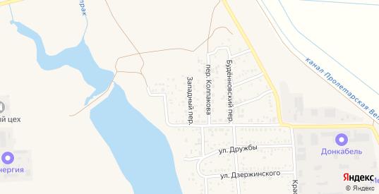 Западный переулок в Пролетарске с номерами домов на карте. Спутник и схема онлайн