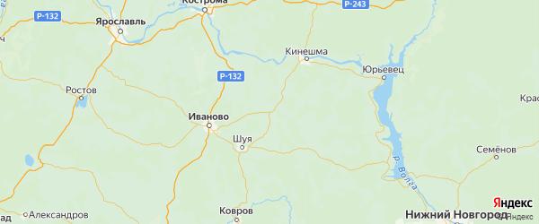 Карта Родниковского района Ивановской области с городами и населенными пунктами