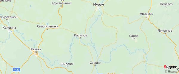 Карта Касимовского района Рязанской области с городами и населенными пунктами