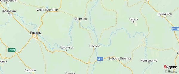 Карта Пителинского района Рязанской области с городами и населенными пунктами
