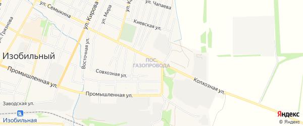 Район Газопровода на карте Изобильного с номерами домов