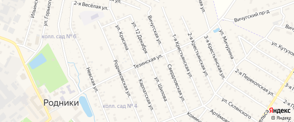 Тезинская улица на карте Родники с номерами домов