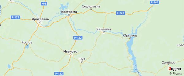 Карта Вичугского района Ивановской области с городами и населенными пунктами
