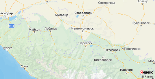 Карта Адыге-Хабльского района республики Карачаево-Черкесия с городами и населенными пунктами